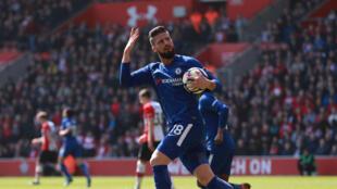 Chelsea's Olivier Giroud celebrates scoring his team's first goal against Southampton.