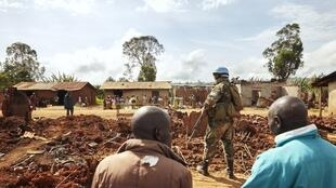 UN soldiers at the Hema village of Lita in the Djugu area of Ituri.