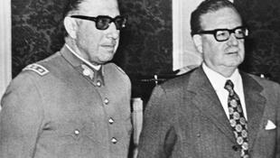 Augusto Pinochet. (L) with Salvador Allende before he deposed him in a coup