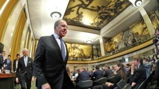 Le ministre russe des Affaires étrangères, Sergueï Lavrov, aux Nations unies à Genève, Suisse, le 25 février 2020.