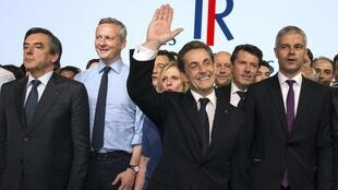 Former president Nicolas Sarkozy with other party leaders at the launch of Les Républicains