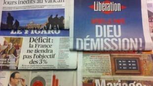 Primeiras páginas diários franceses 13/2/2013