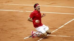 Roger Federer tras su victoria ante Richard Gasquet, este 23 de noviembre de 2014.