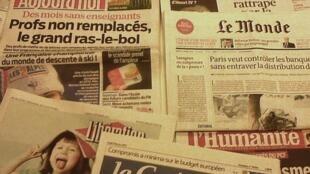 Capas dos diários franceses do dia 11 de Fevereiro de 2013