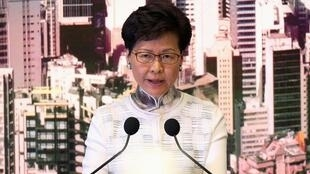 Hong Kong Chief Executive Carrie Lam speaks at a news conference in Hong Kong, China, June 15, 2019.