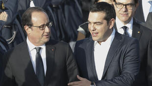 French President François Hollande with Greek Prime Minister Alexis Tsipras in Athèns on Thursday