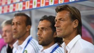Hervé Renard, le sélectionneur du Maroc, avec une partie de son staff. Les Lions de l'Atlas se projettent sur le Mondial 2018.