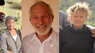 被恐怖组织绑架的六名人质中的:(左)瑞士传教士斯克多利,(中)澳大利亚医生埃利奥特,(右)法国女医生彼得罗尼