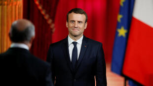 法兰西宪法委员会主席法比尤斯祝新总统马克龙成功 2017年5月14日 法国巴黎爱丽舍宫