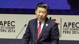 Chủ tịch Trung Quốc Tập Cận Bình phát biểu tại Thượng đỉnh APEC, ở Lima, Peru.