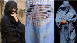 A niqab (L), some burqas (C and R).