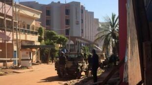 Troops outside the Radisson Blu