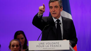 French presidential candidate François Fillon at a meeting in Provins on 5 April, 2017