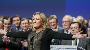 Marine Le Pen during her re-election as head of the Front National at the party's congress on 30 November 2014 in Lyon.