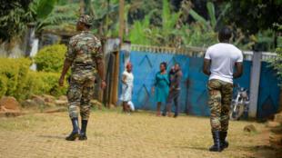 Soldiers patrol in Bafut, north-west Cameroon, in the English-speaking region, 15 November 2017.
