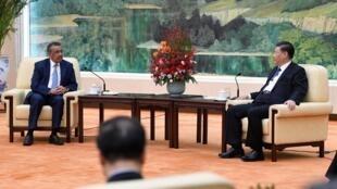 Chủ tịch Trung Quốc Tập Cận Bình (P) tiếp ông Tedros Adhanom, tổng giám đốc Tổ Chức Y Tế Thế Giới, Bắc Kinh, ngày 28/01/2020.