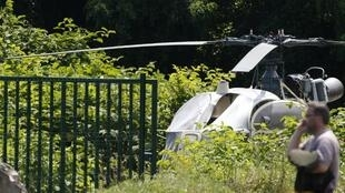 Picture taken on July 1, 2018 in Gonesse, north of Paris shows a French helicopter Alouette II abandoned by French armed robber Redoine Faid after his escape from prison in Reau.