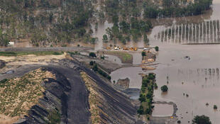 A coal mine is surrounded by floodwaters in Baralaba, Queensland