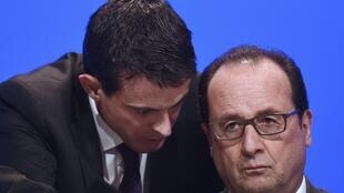 Le président François Hollande et le Premier Ministre de son gouvernement, Manuel Valls.