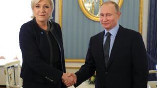 Марин Ле Пен встретилась с Владимиром Путиным в Москве 24 марта 2017 года
