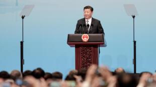 Chủ tịch Trung Quốc Tập Cận Bình phát biểu tại buổi khai mạc thượng đỉnh BRICS, ngày 3/9/2017.