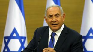 O premiê israelense no Knesset, em Jerusalém, em 27 de maio de 2019.