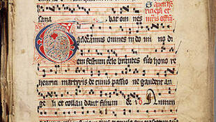The Introit Gaudeamus omnes scripted in square notation in the 14th—15th century Graduale Aboense