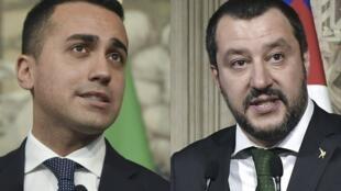 M5S leader Luigi Di Maio (L) and League boss Matteo Salvini