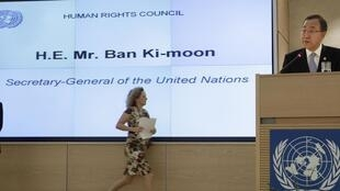 O secretário-geral da ONU, Ban Ki-moon, no Conselho dos Direitos Humanos, em Genebra.