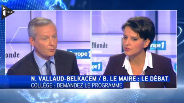 Najat Vallaud-Belkacem et Bruno Le Maire débattent de la réforme du collège, le 21 mai sur iTélé et Europe 1.