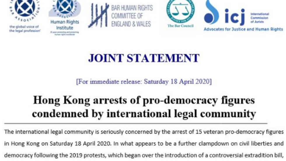 """国际法律界谴责港府拘捕15名民主派人士 呼吁停止""""政治起诉"""""""