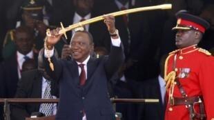 Kenya's President Uhuru Kenyatta during his swearing-in ceremony at Kasarani Stadium in Nairobi, 9 April, 2013