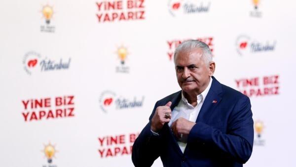 Le candidat de l'AKP à la municipale à Istanbul, Binali Yildirim, le 23 juin 2019.