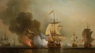 Trận hải chiến ở ngoài khơi Cartagena, Colombia, ngày 28/05/1708 và tàu San Jose bị chìm do nổ khoang thuốc súng.
