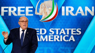 Rudy Giuliani, former Mayor of New York City, delivers his speech as he attends the National Council of Resistance of Iran (NCRI), meeting in Villepinte, near Paris, France, June 30, 2018.