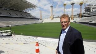 O Secretário Geral da FIFA, Jerôme Valcke, em visita ao Estádio Arena de São Paulo, construido para o Mundial 2014