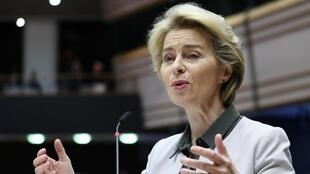 "European Commission president Ursula von der Leyen unveils her ""Green Deal"" before the European Parliament in Brussels on December 11, 2019."