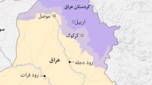 حاشیه مرزهای اقلیم کردستان عراق با ایران بروی نقشه