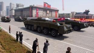 Des missiles Musudan (de moyenne portée) lors d'un défilé militaire à Pyongyang, en Corée du Nord (image d'illustration).