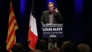 Le candidat d'extrême droite Louis Aliot lors d'un meeting à Perpignan, le 31 janvier 3030