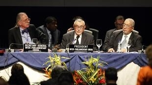 President of the Inter-Parliamentary Union Abdelwahad Radi (C) during the 128th Assembly of the IPU in Quito