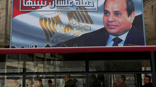 Les portraits du président Abdel Fattah al-Sissi fleurissent partout. Le Caire, le 22 janvier 2018.