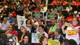 Ato contra a PEC 241 no auditório da Câmara dos Deputados, em outubro de 2016