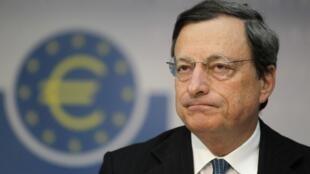 O presidente do Banco Central Europeu, Mario Draghi, durante coletiva de imprensa desta quinta-feira, em Frankfurt.