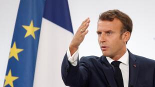 Le président français Emmanuel Macron lors de la conférence annuelle des ambassadeurs à Paris, le 27 août 2019.