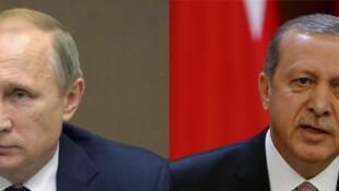 Le président russe Vladimir Poutine (g) et son homologue turc Recep Tayyip Erdogan (d).