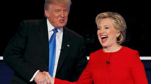 US Donald Trump with Hillary Clinton at the conclusion of their first presidential debate at Hofstra University in Hempstead, New York, on 26 September
