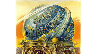 Affiche pour le grand globe céleste de l'Exposition universelle de 1900 à Paris.