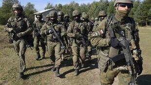 Manoeuvres militaires près de Iavoriv, dans l'ouest de l'Ukraine en septembre 2014.