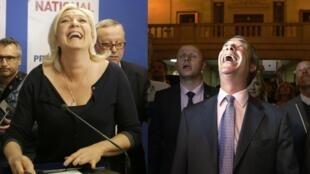 France's Front National leader Marine Le Pen and Britain's Ukip leader Nigel Farage celebrate European election wins, 25 May 2014.